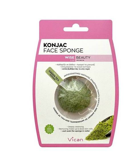 Σφουγγαράκι για το πρόσωπο Konjac Face SPONGE Wise Beauty Vican Green Tea - Miss Beauty shop