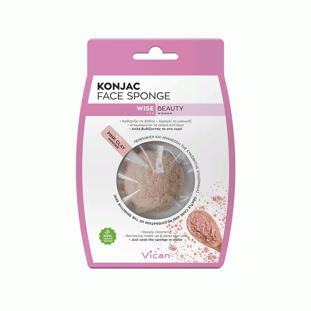 Σφουγγαράκι για το πρόσωπο Konjac Face SPONGE Wise Beauty Vican Pink Clay - Miss Beauty shop
