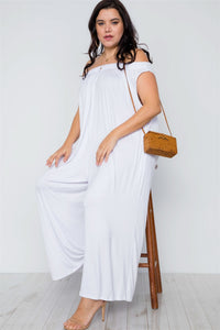 Plus Size Basic Off-the-shoulder Jumpsuit