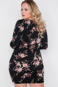 Plus Size Black Floral V-neck Long Sleeve Mini Dress
