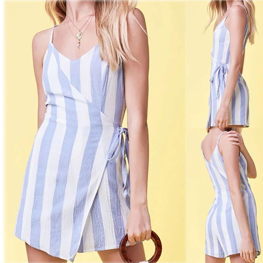 Women Fashion Striped V-Neck Sleeveless Loose Fork Jumpsuit (some Plus Size)