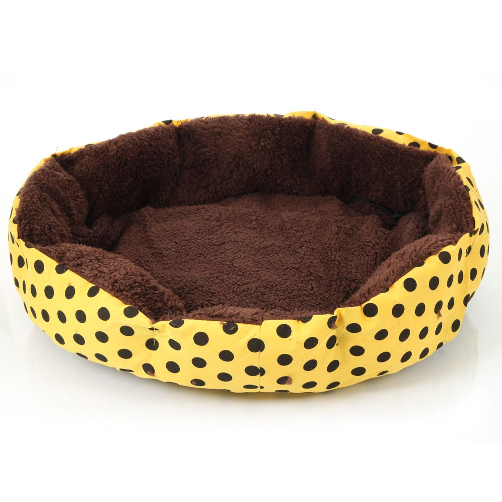 Nice-looking Dot Pattern Octagonal Flannelette & Cotton Pet Bed Yellow S