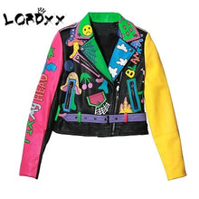 Load image into Gallery viewer, Yellow/Pink sleeve short Leather Jacket * Zipper Motorcycle Coat