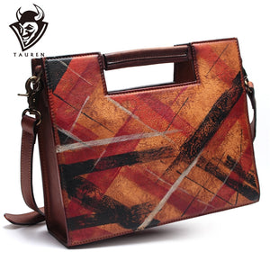 Handmade Italian Drawing Genuine Leather Messenger Bag Geometric Shoulder Travel Bags For Women Handbags