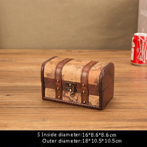 Retro Wooden Treasure Box Makeup Organizer Jewelry Box Storage Boxes Bins Creative Multifunction Decor Home Storage Organization
