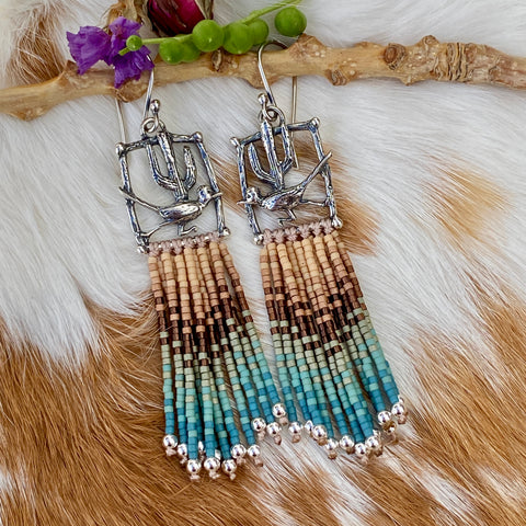 "Desert Dweller ""Road Runner"" hand cast Sterling Silver beaded Earrings"