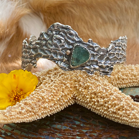Reef Sea Fan Coral and Apatite hand cast Cuff