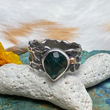 Reef Mermaid and Rose cut Teal Tourmaline hand cast Sea Fan Coral Ring SZ 8