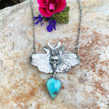 Moth and Skull Turquoise Necklace