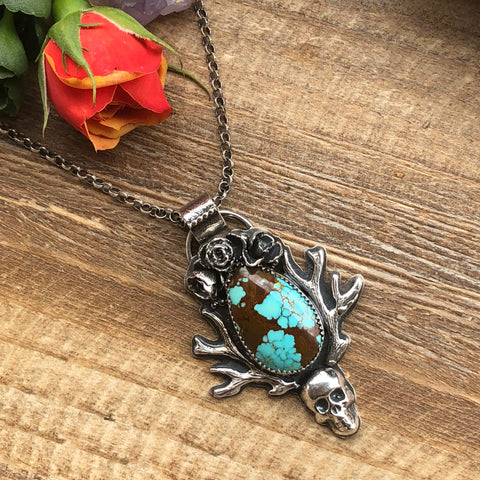 Viking Princess Skull Turquoise N8 Necklace