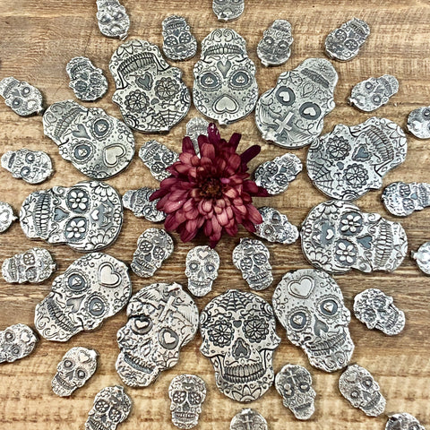 Sugar Skull Castings Small Sterling Silver