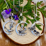 Moon Scape ~ Butterfly and flora sterling silver necklace