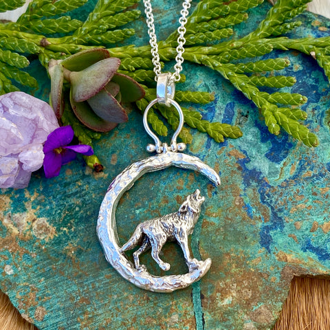 Moon Scape ~ Soul of a Wolf sterling silver necklace