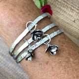 Succulent Blossom hammered sterling silver bangle bracelet