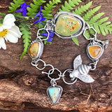 Queen Bee Old stock Royston Turquoise Cabochons and hand cast bumble bee Sterling Silver Bracelet,