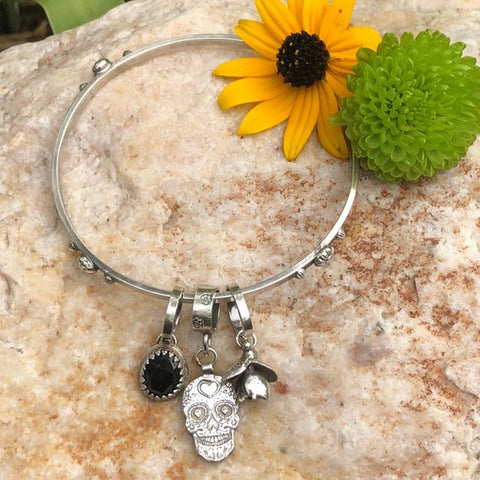 Sugar Skull and Black Onyx sterling silver Bangle Sterling Bracelet