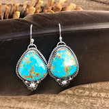 Boho Kingman star Turquoise drop Sterling Silver Earrings