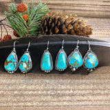 Boho Kingman Turquoise drop Sterling Silver Earrings