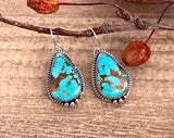 Teardrop Boho Kingman Turquoise drop Sterling Silver Earrings