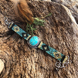 Rustic Southwest seed bead and Turquoise Bracelet