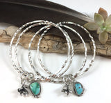 Rustic Wigwam Royston Turquoise SUCCULENT Stacker Bangle Sterling Silver Bangle Bracelet