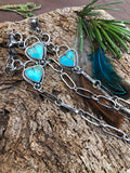 Made to order You have my Heart Turquoise and succulent hand stamped chain sterling silver bracelet