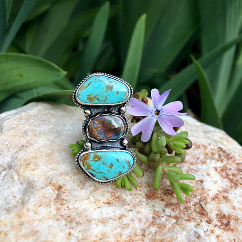 Boulder Opal and Rustic Turquoise Stones Bezeled in Sterling Silver Ring Size 5 US