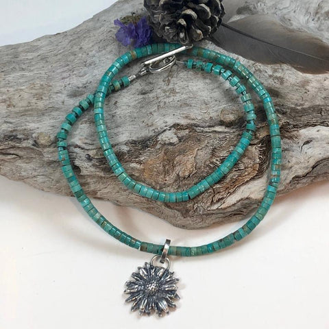 kingman turquoise and wildflower Blossom hand cast Necklace