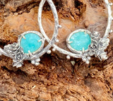Succulents and sky blue amazonite hoop Earrings