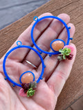 Succulents and peach aventurine hoop Earrings