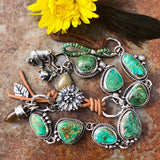 Sunflower and Royston Turquoise Sterling Silver Bracelet