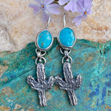 Cactus and Turquoise sterling silver earrinfs