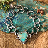 Turquoise shield and succulent sterling silver bracelet