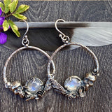 Skull & Succulent Moonstone hoop Earrings