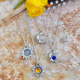 Sun and Cresent moon pendant necklaces