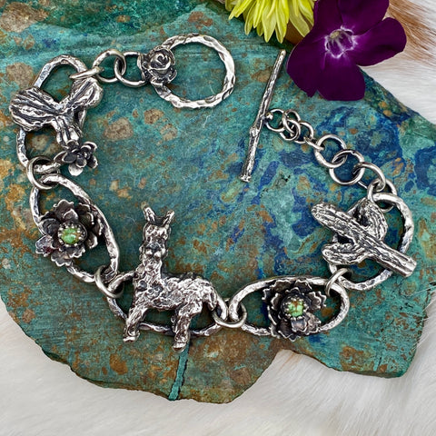 Llama & Cactus hand carved and cast sterling silver bracelet