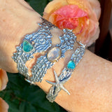 Reef and rose cut Apatite sterling bracelet
