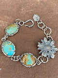 Rustic tattered wildflower sterling silver beacelet