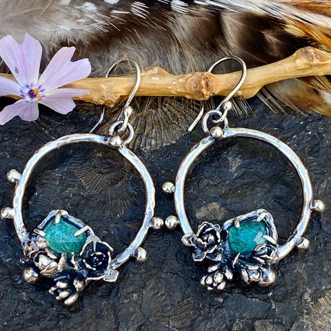 Succulents and aqua blue Tourmaline hoop Earrings