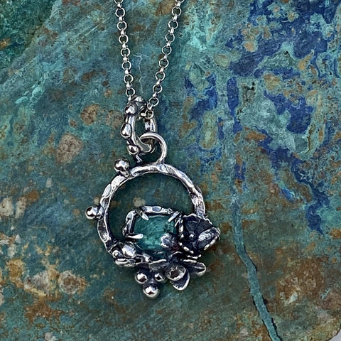 Succulents and Apetite rose cut sterling silver necklace