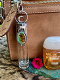 "Wolf & Moon snakeskin print & Turquoise Elixir Hand sanitizer ""PROTECTOR"" Glass bottle"