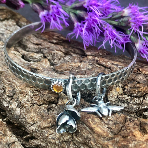 Bee and Honeycomb Bangle Sterling Silver Bangle Bracelet