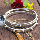Hobnail Rustic Hammered Bangle Sterling Silver Bracelet
