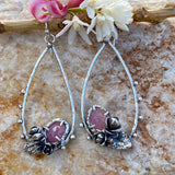 Succulents and pink sapphire teardrop hoop Earrings
