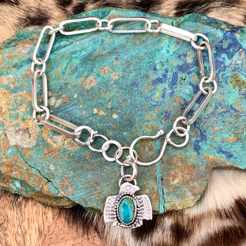 Made to Order Thunderbird, turquoise handmade heavy chain bracelet