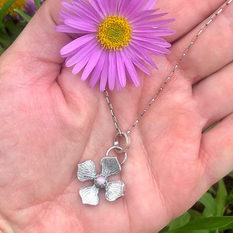 Hydrangea Blossom and Opal Hand Cast Necklace