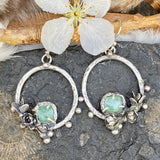 Succulents and pale green Tourmaline hoop Earrings