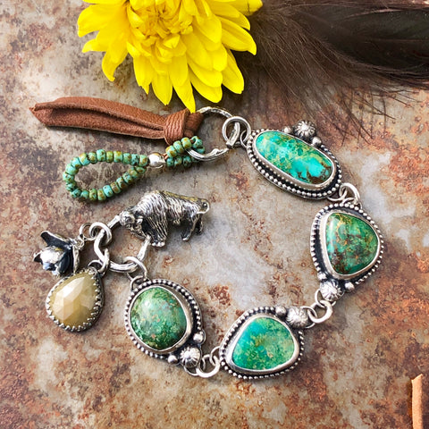 Take No Bull Old stock Royston Turquoise, Buffalo and succulent Sterling Silver Bracelet