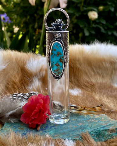 "Kingman Turquoise Elixir Hand sanitizer ""PROTECTOR"" Glass bottle"