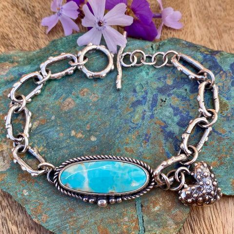 Sky blue oval Kingman and hand cast chain bracelet